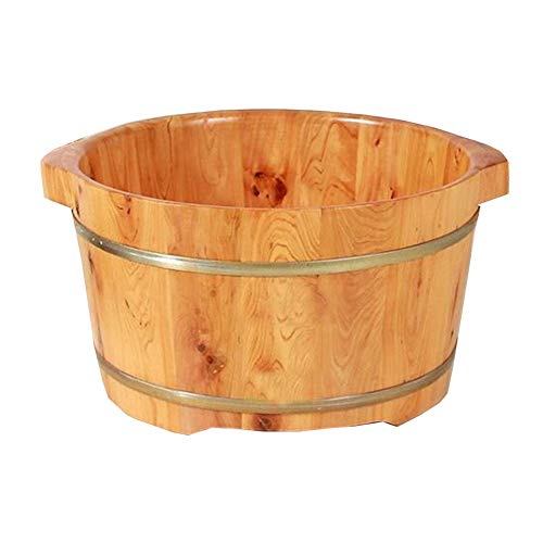 Buy Bargain QY Wooden Barrel Foot Bucket 21cm High Cedar Foot Bath   Foot Washing Bucket Tub Health...