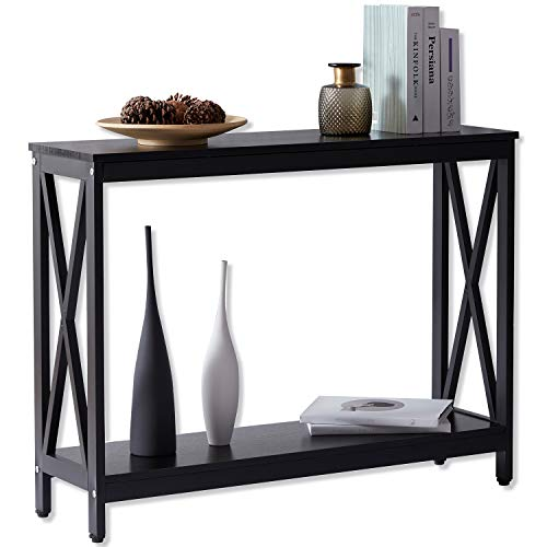 Akimbo Console Tables for Entryway Hallway Small Space Console End Table for Living Room with Storage Shelf Long Narrow Sofa Table (Black, 39.5'')