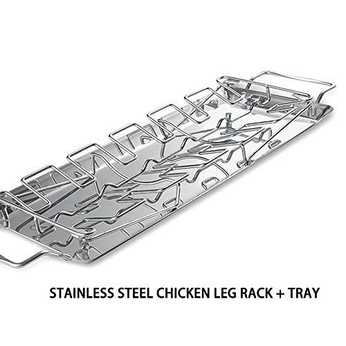 Souarts kippenbeen houder kip grill standaard kip pan houder van roestvrij staal gelijkmatig Garden kip pan uit oven 1 stuk
