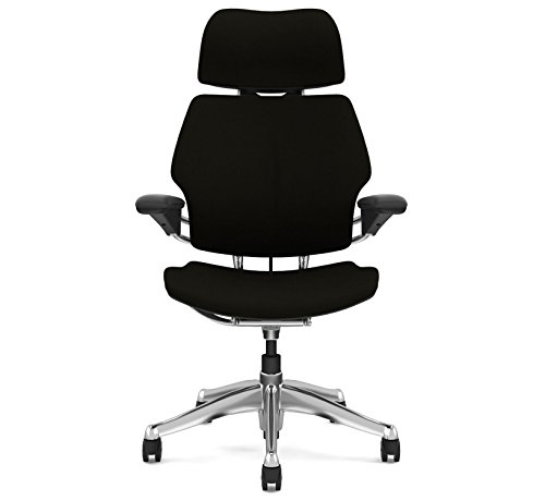 Humanscale Freedom Office Desk Chair with Headrest F213 Advanced Duron Arms Aluminum Frame Black Fabric Gel Seat F213A - Soft Hard Floor Casters