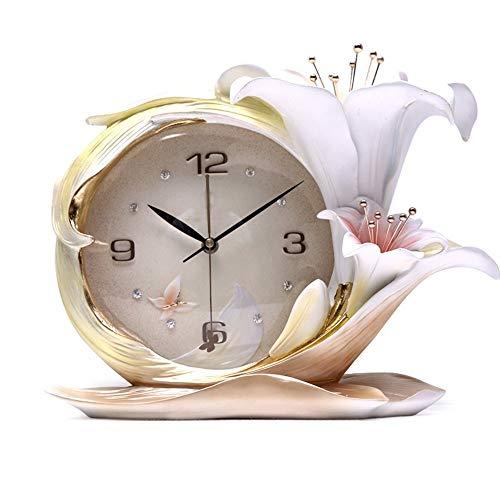 HYYK Wanduhr Schlafzimmer Nachttischuhr Salon dreidimensionale Quarzuhr Moderne Wanduhr Einfache Uhr Parfüm Lily Ultra-Silent Relief Dreidimensionale Blumen
