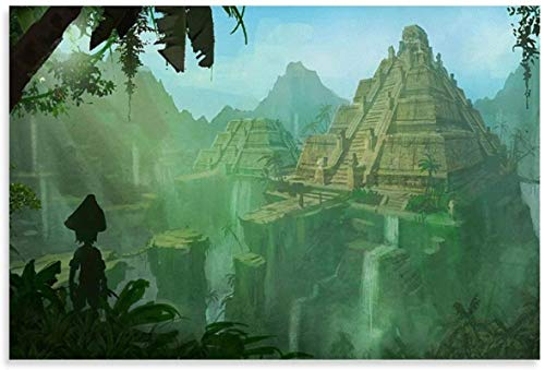 HuGuan Canvas Wall Art Painting Poster 23.6'x35.4'(60x90cm) Aztec City Fantasy and Picture Modern Family Decor Artwork Print Posters NO Frame