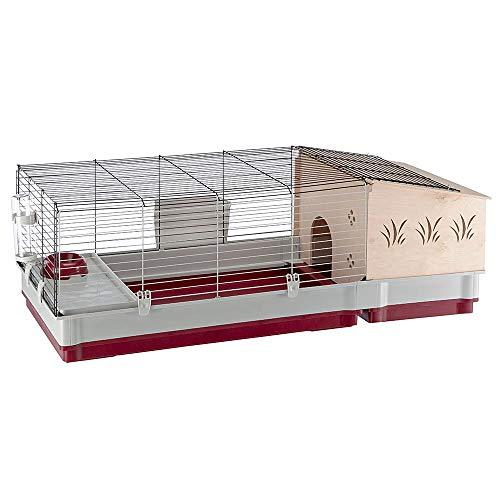 Ferplast Gabbia per Conigli e Porcellini D'India Krolik 140 Plus, Casetta per Piccoli Animali, Conigliera, Casetta in Legno Separabile, Accessori Inclusi, 142 X 60 X H 50 cm Bordeaux