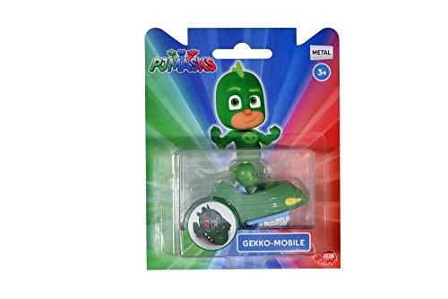 Dickie Toys PJ Masks Single Pack Gekko-Mobil, Gecko Fahrzeug aus Metall, Freilauf, 7 cm, ab 3 Jahren