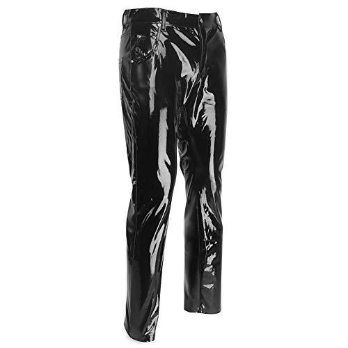 JYCDD Faux Atractivo de Los Hombres de Cuero de Medias Elásticas Pantalones Impermeables Pantalones de Cuero de Motocicleta de PU de Cintura Media para Hombres,Negro,XXL
