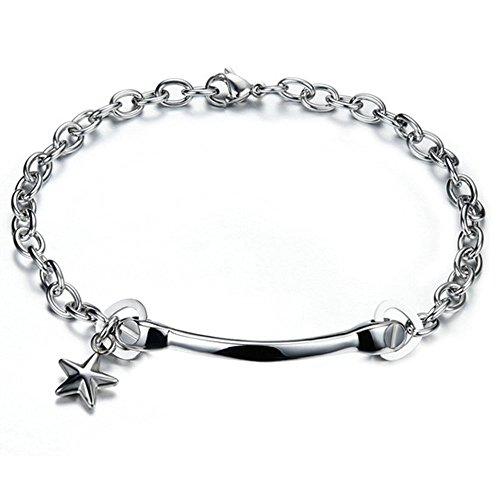Onefeart Edelstahl Armband für Herren 18.5CM Sterne Form Silber