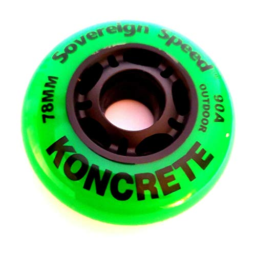 Sovereign Speed Outdoor Asphalt Inline Skate Wheels 78mm (90a) 8-Pack Roller Blade Hockey ripstik Replacement Wheel