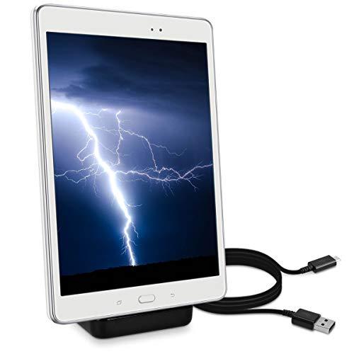 kwmobile Micro USB Dockingstation für Tablets - Ladestation Mikro USB Ladekabel Ladehalterung in Schwarz
