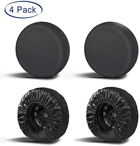 "Aebitsry Tire Covers for RV Wheel, (4 Pack) Motorhome Wheel Covers Waterproof Oxford Sun UV Tires Protector for Trailer, Camper,Universal Fits 24"" to 32"" Car Tire Diameter (Black, 30-32)"