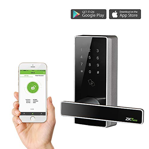 Cerradura Inteligente - ZKTeco DL30DB (GER) - Smart Lock + 5 Tarjetas RFID - Teclado Digital- Bluetooth 4.0 - Smartphone App - Ideal para Casa, Hoteles, Gym, Dormitorios.
