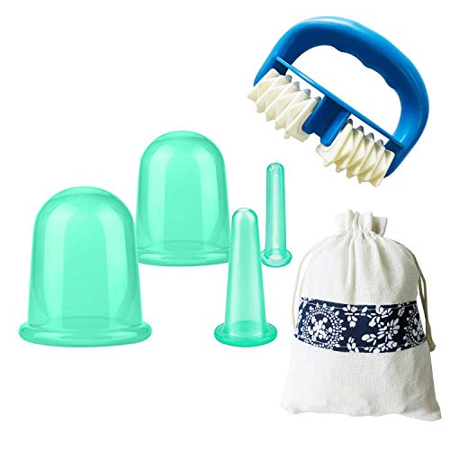 IAMXXYO 5Pcs Anti-Cellulite Cup Set + Massage du Corps Rouleau Silicone Emboutissage Thérapie Visage Emboutissage Vide Coupe pour Drainage Lymphatique Et Soins De Santé,Vert