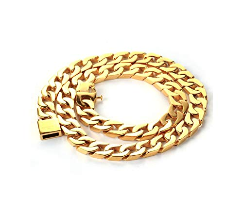 AueDsa Collar Cadena de Hombre,Cadena de Curb Cadenas de Acero Inoxidable Oro