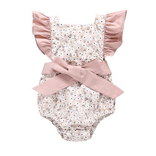 BAOBAOLAI Macaquinho de bebê para meninas recém-nascidas com laço e estampa floral, roupas de princesa para o verão