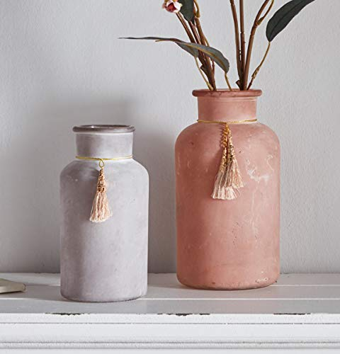"""Retro-Vase """"Quaste"""" 2er Set, 16 & 20 cm klein, matt, Deko Vintage Glasvase, Shabby Blumenvase für Tisch & Schrank, antik"""