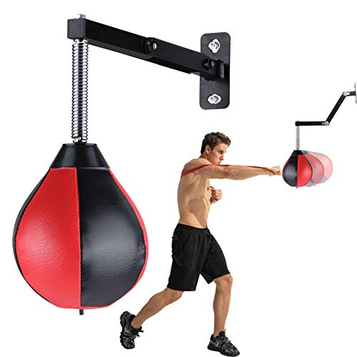 Speed Bag Boxing Punching Bag Wall-Mounted Height Adjustable Strong Durable Boxing Speed Punching Bag with Stand for Men Women Kids