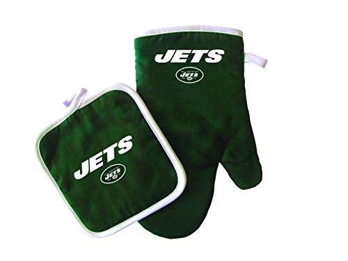 Pro Specialties Group NFL - Juego de manopla y Soporte para ollas, NFL Sports Team Logo Manopla de Horno y Soporte para ollas, Negro, Una Talla