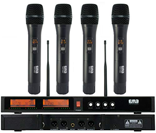 EMB EMIC2500 Wireless Microphone System 4-Channel UHF Cordless Mic Set with Four Handheld Mics, All Metal Build, Fixed Frequency, Long Range 260ft, Ideal for Church, Karaoke, Weddings, Events