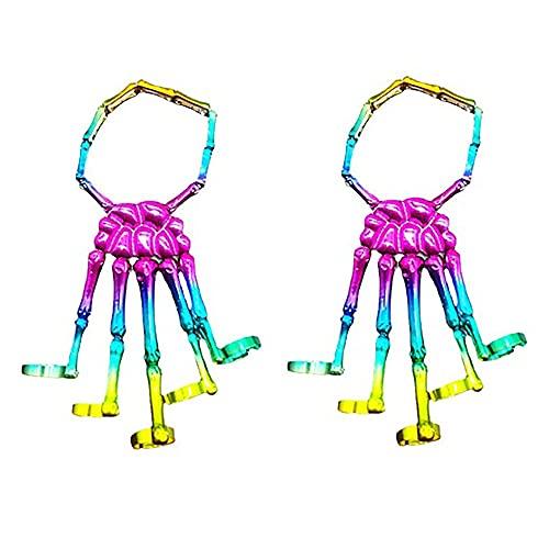 Deathbringer Bracelet,Metal Skeleton Bracelet Ring,Skeleton Punk Hand Bone Bracelet,Adjustable Metal Skeleton Bracelet Ring.For Women Girl Men Boy Costume Accessory Gifts. (2PCS-Multicolor)