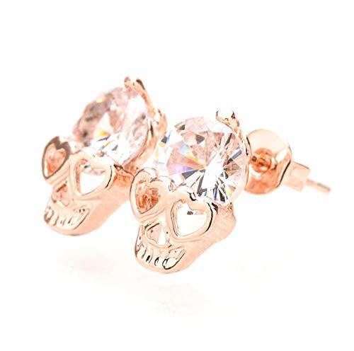 Zittop Rose Gold Women Tone Crystal Diamond Skull Pierced Stud Earrings Jewelry