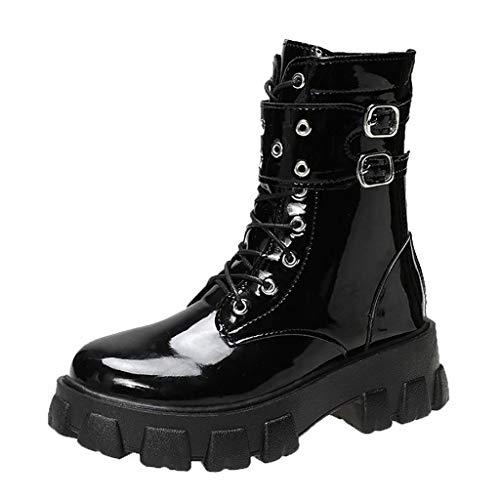 Botas de motorista con plataforma, botas de snow snow-snow botas de mujer de piel cálida de piel redonda, plataforma impermeable gruesa zapatos de botas al tobillo de fiesta, color negro, talla 39