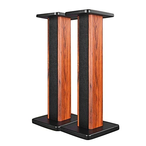 Speaker Stands Universal Floor Solid Wood Bookshelf Box Tripod-Sand-fillable Design The Best Experience in Every Room (Color : Wood Color, Size : 242860cm)