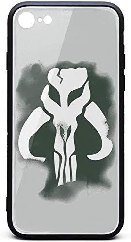 Funda para iPhone 8/iPhone 7 Mandalorian-Skull-Spraypaint-Poster- Unisex Hippie Vidrio Templado Negro Anti-Arañazos TPU Caucho Bumper Cover Back Cover