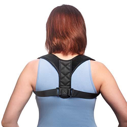 Lacucci Haltungstrainer aus atmungsaktivem Neopren für Damen und Herren - Verstellbarer Rückengurt inklusive 2 Achselpolster… (XS-M)