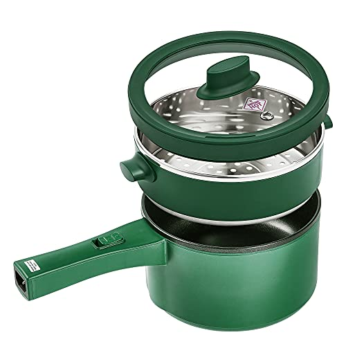 Hot Pot Electric, EKNOSRI 1.5L Non-stick Mini Pot Multi-purpose with Stainless Steel Food Steamer and Temperature Control for Rapid Noodles, Egg cooker, Steak, Sauté, Steam, Oatmeal and Soup - Green