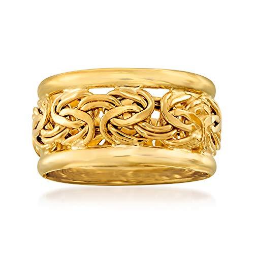 Ross-Simons 18kt Yellow Gold Bordered Byzantine Ring For Women