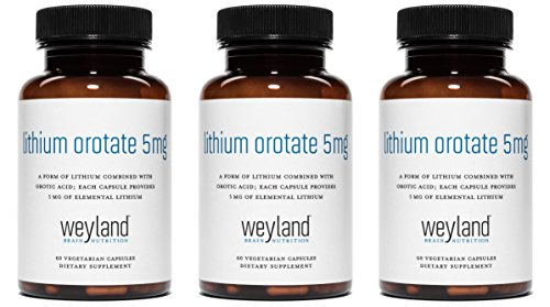 Weyland Brain Nutrition: Lithium Orotate 5mg (3 Bottles), 180 Vegetarian Capsules, Lithium Supplement Supports Healthy Mood, Behavior, Memory and Wellness