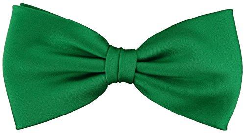 TigerTie vorgebundene Satin Fliege in grün leuchtgrün Uni einfarbig + Geschenkbox