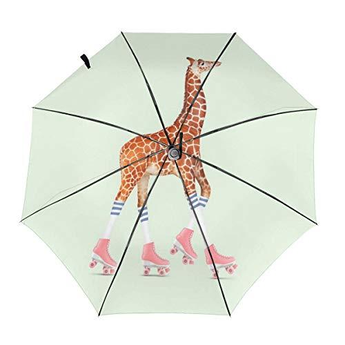TYHG Automatischer dreifach faltbarer Regenschirm, 3D-Druck, Rollschuh-Giraffe, tragbarer Regenschirme innen Druck für den Außenbereich