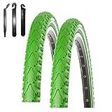 maxxi4you Angebot-Set / 2 x Kenda K-935 Premium Fahrradreifen Fahrradmantel Grün Reflex 40-622 (28 x 1.50) inkl. 3 Reifenheber