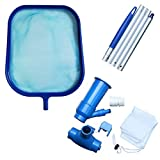 GKanMore Pool Vacuum Head and Skimmer Net Set Included 47' Detachable Pole, Spa Pond Swimming Pool Cleaning Supplies and Accessories