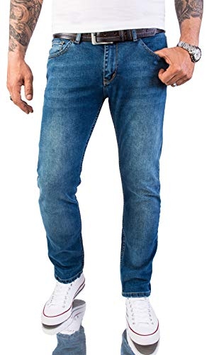 Rock Creek Herren Jeans Hose Slim Fit Stretch Jeans Herrenjeans Herrenhose Denim Stonewashed Blau Raw RC-2147 Dabuwall W40 L32
