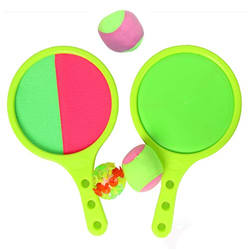 Green Giocattoli per Ragazzi,Racchetta, Giochi per Esterni, Bambini, Tennis, Baseball, Gioco Estivo, Giocattolo a Sfera Catch And Toss Set di Gioco Set Regalo per Bambini, 2 Paddles And 3 Balls