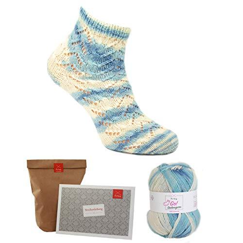 MyOma Socken Strick-Set *Oma Siggis Wolkentraum blau* Sockengarn - Strickset Socken - Sockengarn blau - Anleitung zum Socken Stricken + GRATIS Label - Sockenwolle Farbverlauf - Sockenstrickset
