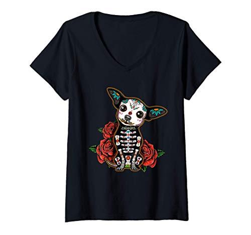 Mujer Chihuahua día de los muertos día de los muertos Calavera de Camiseta Cuello V