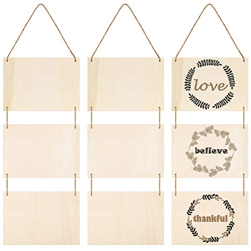 Unfinished Wood Hanging Sign Blank Hanging Decorative Wood Plaque Wooden Slices Banners with Ropes for Home Decor DIY Projects Craft Projects (3 Pieces)