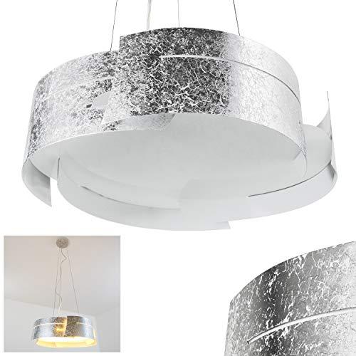 Pendelleuchte Novara, Hängelampe rund in Silber aus Metall, 3-flammig, 3 x E27 je 60 Watt, moderne Hängeleuchte geeignet für LED Leuchtmittel