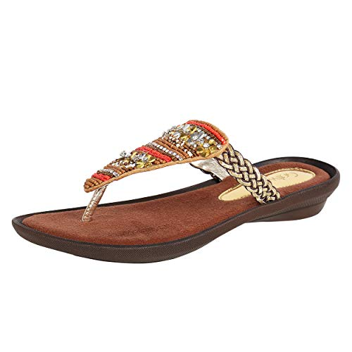Catwalk Women's Floral Beaded Thong Orange Outdoor Sandals Price in India