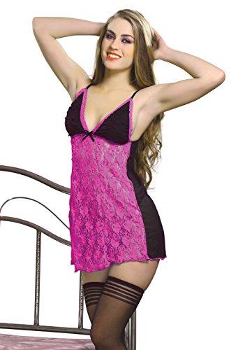 Hot & Sexy Women Lencería Robe Lace Nightwear Babydoll Sets de 2 sujetadores Penty Sexy Women Wear Wedding Honey Moon rosado Night Wear