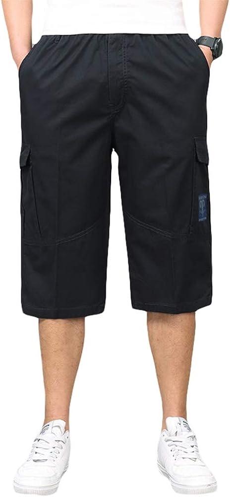 ICEGREY Mens Summer Casual Elastic Waist Cargo Shorts