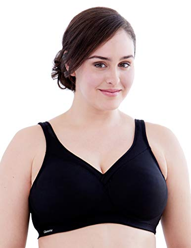 Glamorise Women's Plus Size Full Figure MagicLift Seamless Wirefree Sports Bra #1006, black, 36I