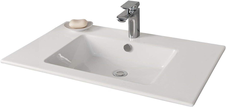 FACKELMANN Waschbecken KERA 810   Waschtisch aus Keramik   Mae (B x H x T)  ca. 81 x 16,5 x 51 cm   Einbauwaschbecken   hochwertiges Becken fürs Badezimmer und WC   Farbe  Wei   Breite  81 cm