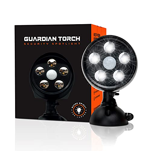 Guardian Torch Security Lights Motion Outdoor Spotlight (1 Pack) Solar Powered Waterproof Outdoor Floodlight - 120° Infrared Motion Sensor, IP65 Water Resistant, 5 Bright LED & Dusk to Dawn Technology