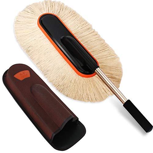 Feather Duster, Mikrofaser-Staubtuch-Reinigungs Stahl Teleskop Duster Feather Duster Mit Reinigungsbürste Hand for die Reinigung Deckenventilatoren/Autos (Color : A)