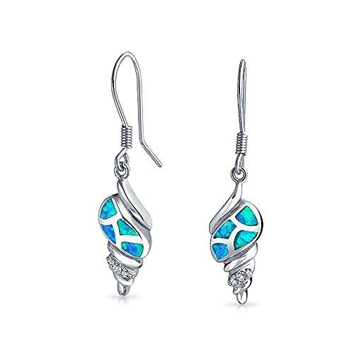 Creado Azul Náutico Opal Tropical Concha Colgante Pendiente Mujer Para Adolescente Peces Plata Esterlina 925 Alambre