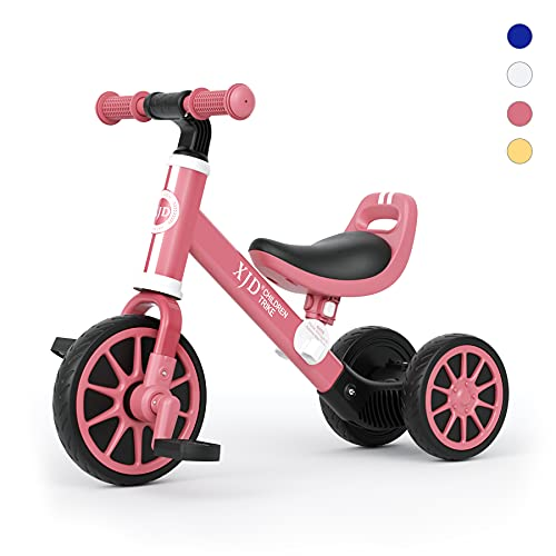 XJD 三輪車 3in1 折りたたみ式 子ども用三輪車 乗用玩具 2歳〜4歳 こども自転車 乗り物 10ヶ月〜2歳 キッズバイク 軽量コンパクト 足けり 幼児用 新型 便利 幼児に向け 誕生日プレゼントに最適 組立簡単(ピンク)