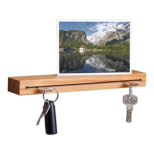 WOODS Schlüsselbrett Holz mit Ablage I Nut - Schlüsselhalter modern I Wanddekoration aus Holz handgefertigt in Bayern I Schlüsselleiste Landhaus Design I Schlüsselboard aus Holz (Eiche, 30 cm)